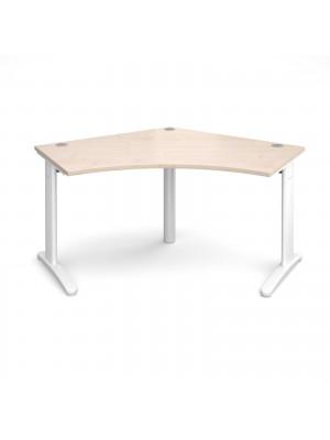 TR10 120 degree desk 1000mm x 1000mm x 600mm - white frame, maple top