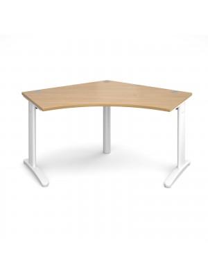 TR10 120 degree desk 1000mm x 1000mm x 600mm - white frame, oak top