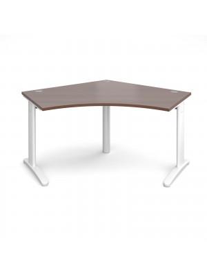 TR10 120 degree desk 1000mm x 1000mm x 600mm - white frame, walnut top