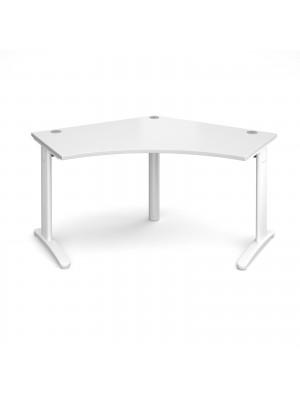 TR10 120 degree desk 1000mm x 1000mm x 600mm - white frame, white top