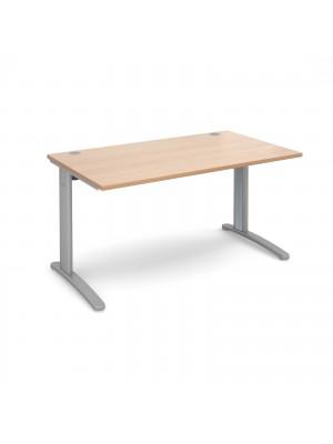 TR10 straight desk 1400mm x 800mm - silver frame, beech top