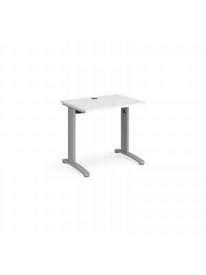 TR10 straight desk 800mm x 600mm - silver frame, white top