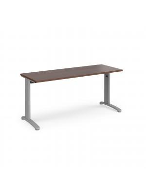 TR10 straight desk 1600mm x 600mm - silver frame, walnut top