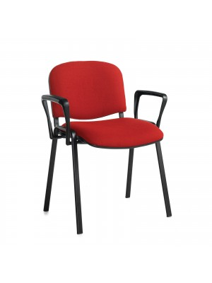 Taurus meeting room stackable chair (box of 4) with black frame and fixed arms - burgundy