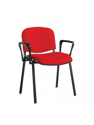 Taurus meeting room stackable chair (box of 4) with black frame and fixed arms - red