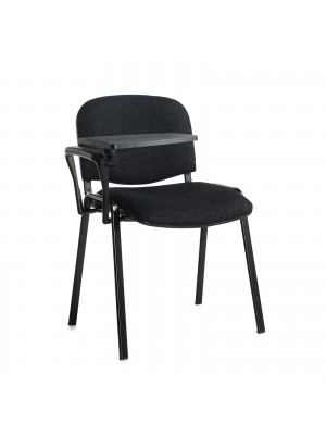 Taurus meeting room chair (box of 4) with black frame and writing tablet - charcoal
