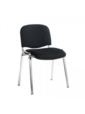 Taurus meeting room stackable chair with chrome frame and no arms - charcoal