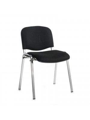 Taurus meeting room stackable chair with chrome frame and no arms - black