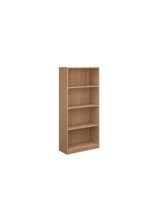 Economy bookcase 1620mm high with 3 shelves - beech