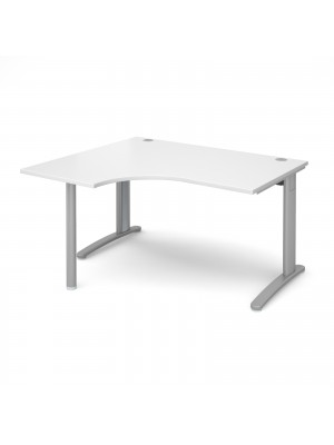TR10 left hand ergonomic desk 1400mm - silver frame, white top