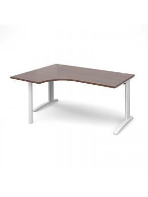 TR10 left hand ergonomic desk 1600mm - white frame, walnut top