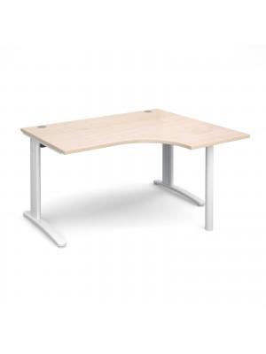 TR10 right hand ergonomic desk 1400mm - white frame, maple top