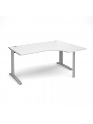 TR10 right hand ergonomic desk 1600mm - silver frame, white top