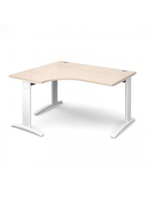 TR10 deluxe left hand ergonomic desk 1400mm - white frame, maple top