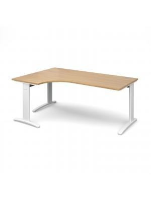 TR10 deluxe left hand ergonomic desk 1800mm - white frame, oak top