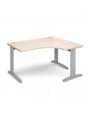 TR10 deluxe right hand ergonomic desk 1400mm - silver frame, maple top