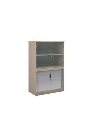 Systems combination unit with tambour doors and glass upper doors 1600mm high with 2 shelves - maple