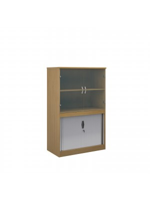 Systems combination unit with tambour doors and glass upper doors 1600mm high with 2 shelves - oak