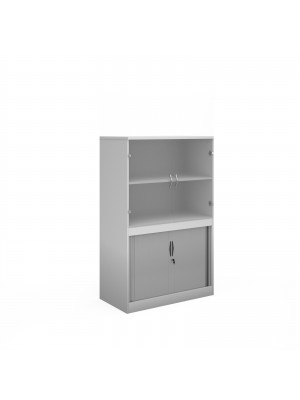 Systems combination unit with tambour doors and glass upper doors 1600mm high with 2 shelves - white