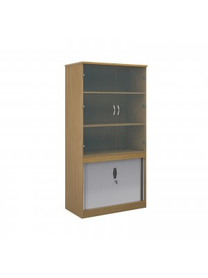 Systems combination unit with tambour doors and glass upper doors 2000mm high with 2 shelves - oak