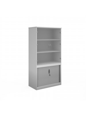Systems combination unit with tambour doors and glass upper doors 2000mm high with 2 shelves - white