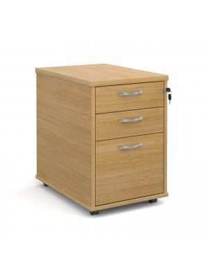 Tall mobile 3 drawer pedestal with silver handles 600mm deep - oak
