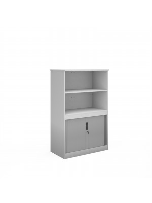 Systems combination unit with tambour doors and open top 1600mm high with 2 shelves - white