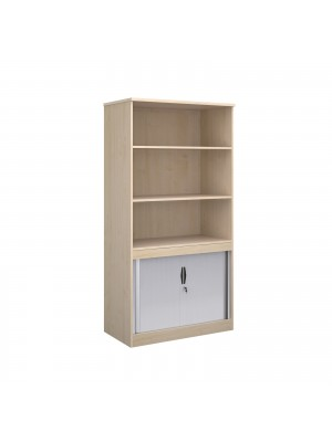 Systems combination unit with tambour doors and open top 2000mm high with 2 shelves - maple