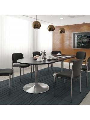 Trumpet base circular boardroom table 1200mm - silver base, white top