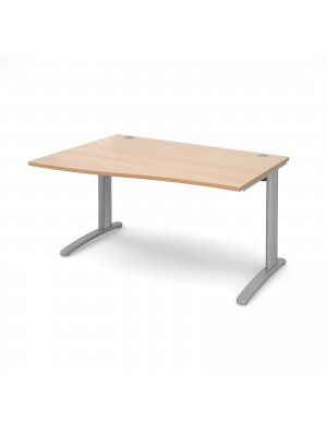TR10 left hand wave desk 1400mm - silver frame, beech top