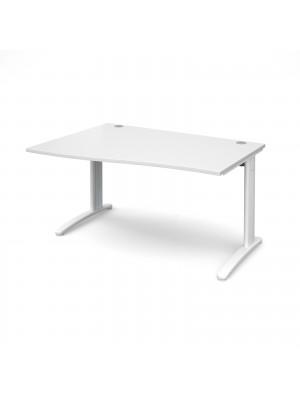 TR10 left hand wave desk 1400mm - white frame, white top