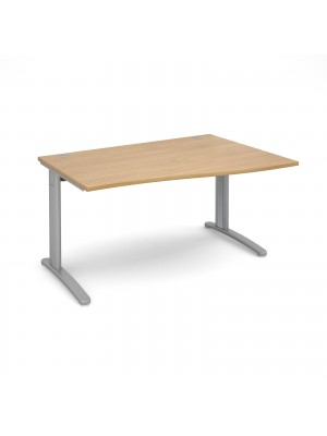 TR10 right hand wave desk 1400mm - silver frame, oak top