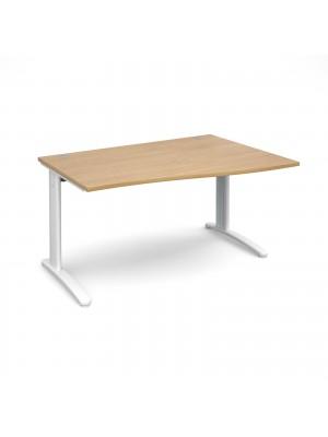 TR10 right hand wave desk 1400mm - white frame, oak top