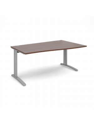 TR10 right hand wave desk 1600mm - silver frame, walnut top
