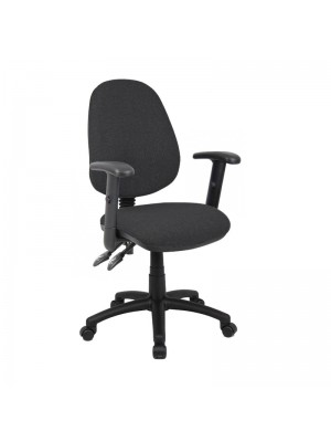 Vantage 100 2 lever PCB operators chair with adjustable arms - charcoal