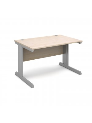 Vivo straight desk 1200mm x 800mm - silver frame, maple top
