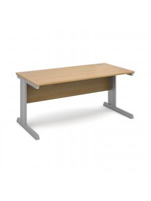 Vivo straight desk 1600mm x 800mm - silver frame, oak top