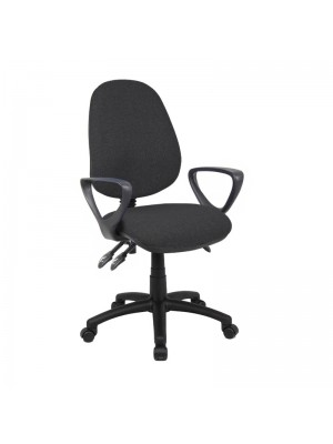 Vantage 200 3 lever asynchro operators chair with fixed arms - charcoal