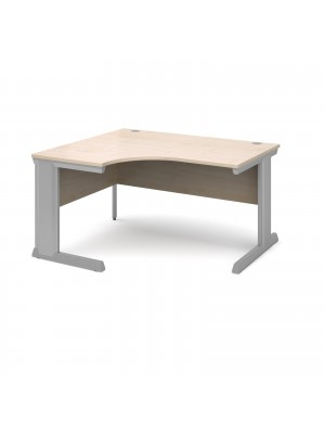Vivo left hand ergonomic desk 1400mm - silver frame, maple top
