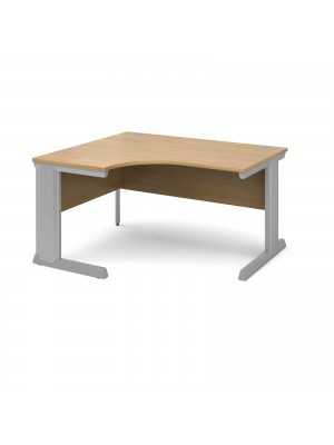 Vivo left hand ergonomic desk 1400mm - silver frame, oak top