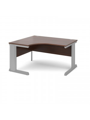 Vivo left hand ergonomic desk 1400mm - silver frame, walnut top
