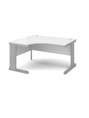Vivo left hand ergonomic desk 1400mm - silver frame, white top