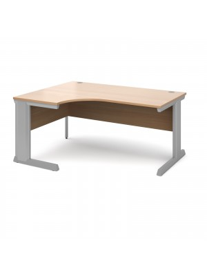 Vivo left hand ergonomic desk 1600mm - silver frame, beech top