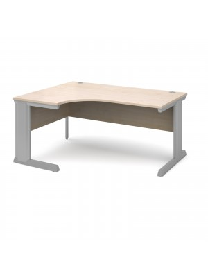 Vivo left hand ergonomic desk 1600mm - silver frame, maple top