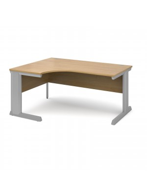 Vivo left hand ergonomic desk 1600mm - silver frame, oak top