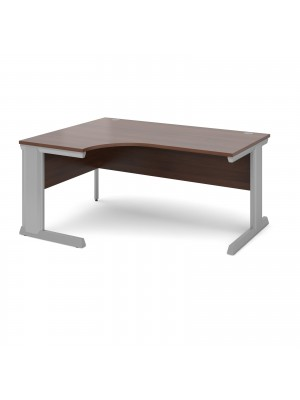 Vivo left hand ergonomic desk 1600mm - silver frame, walnut top