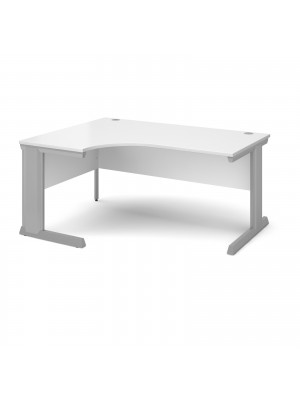Vivo left hand ergonomic desk 1600mm - silver frame, white top