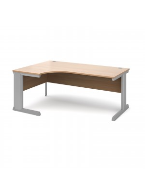 Vivo left hand ergonomic desk 1800mm - silver frame, beech top
