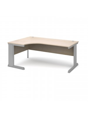 Vivo left hand ergonomic desk 1800mm - silver frame, maple top
