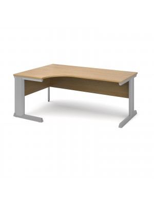 Vivo left hand ergonomic desk 1800mm - silver frame, oak top